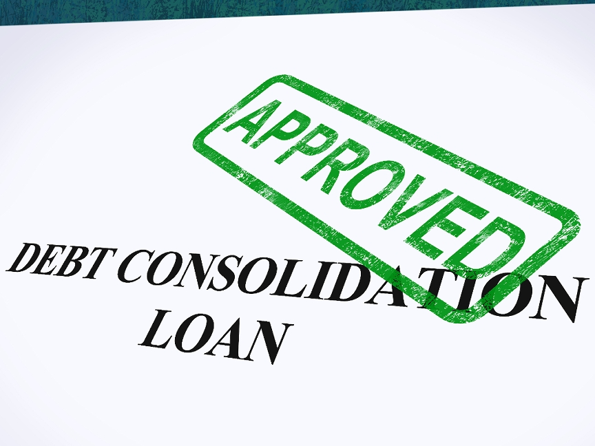 Debt Consolidation Loan in big bold text with a green approved stamp on top of paper